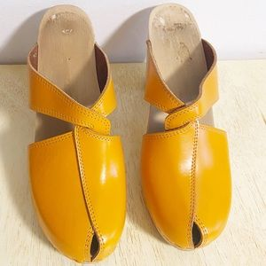 Maguba of Sweden Orange Wooden Criss Cross Clog